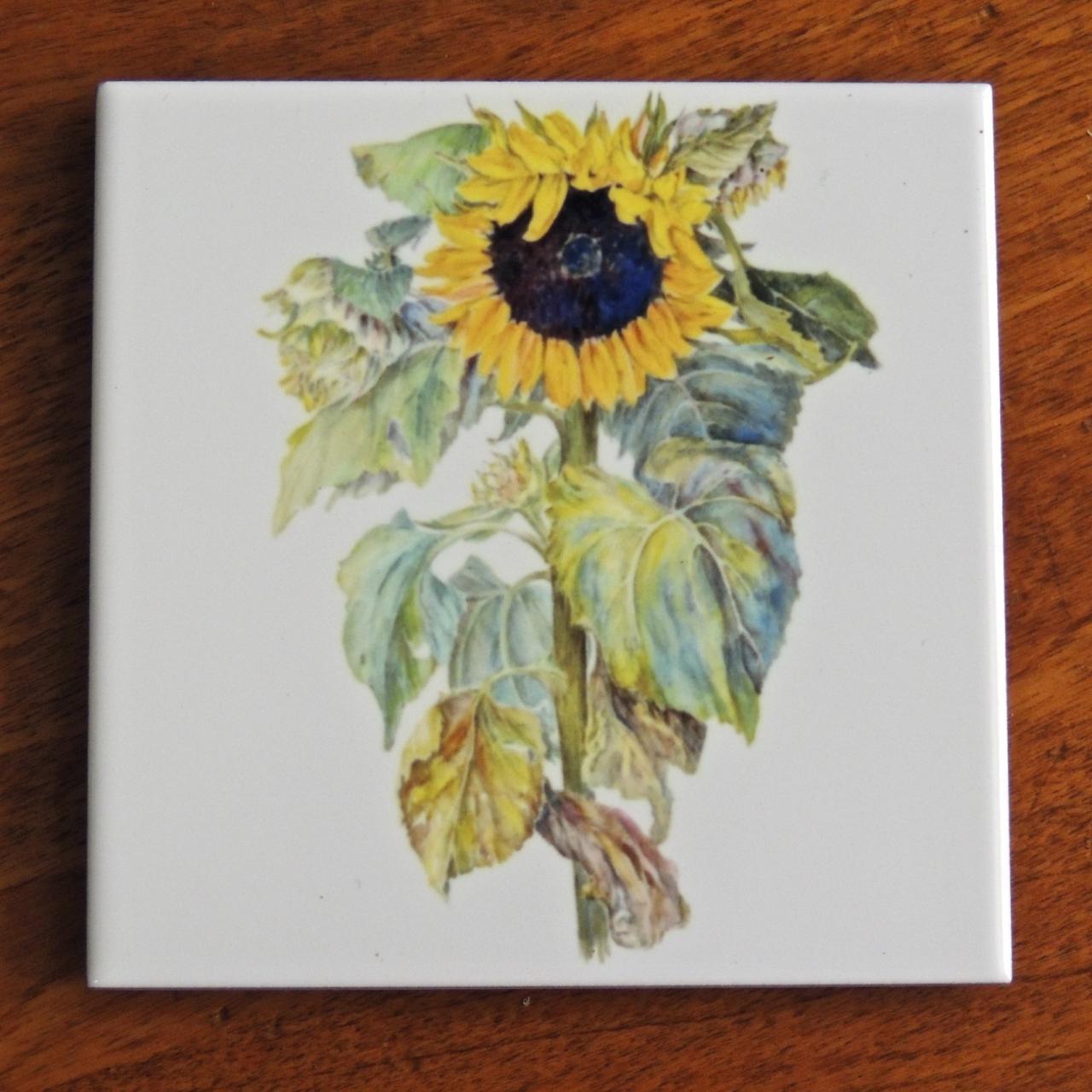 Country garden watercolors decorative ceramic tiles ceramic tiles 718 sunflower tile dailygadgetfo Choice Image